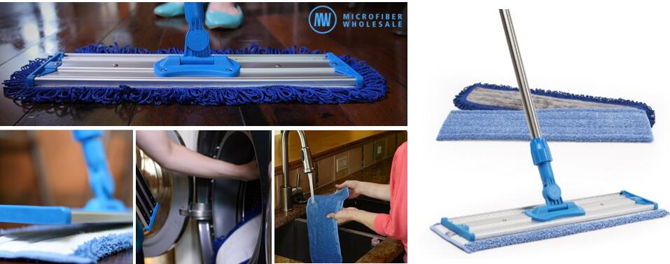 18 inch Professional Microfiber Mop-Stainless Steel Handle Premium Mop Pads 2 FREE Microfiber Cloths