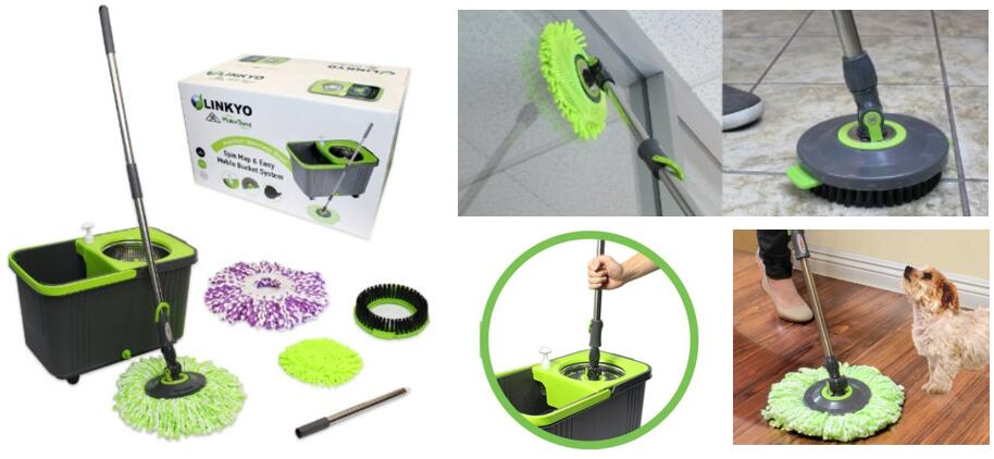 LINKYO Spin Mop Bucket System - Microfiber Mop with Easy Wringing Bucket