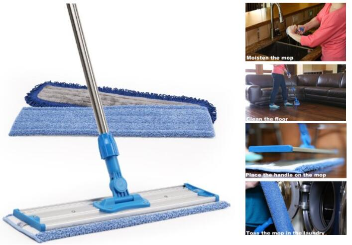 top rated 18 Professional Microfiber Mop - Stainless Steel Handle - Premium Mop Pads - 2 FREE Microfiber Cloths