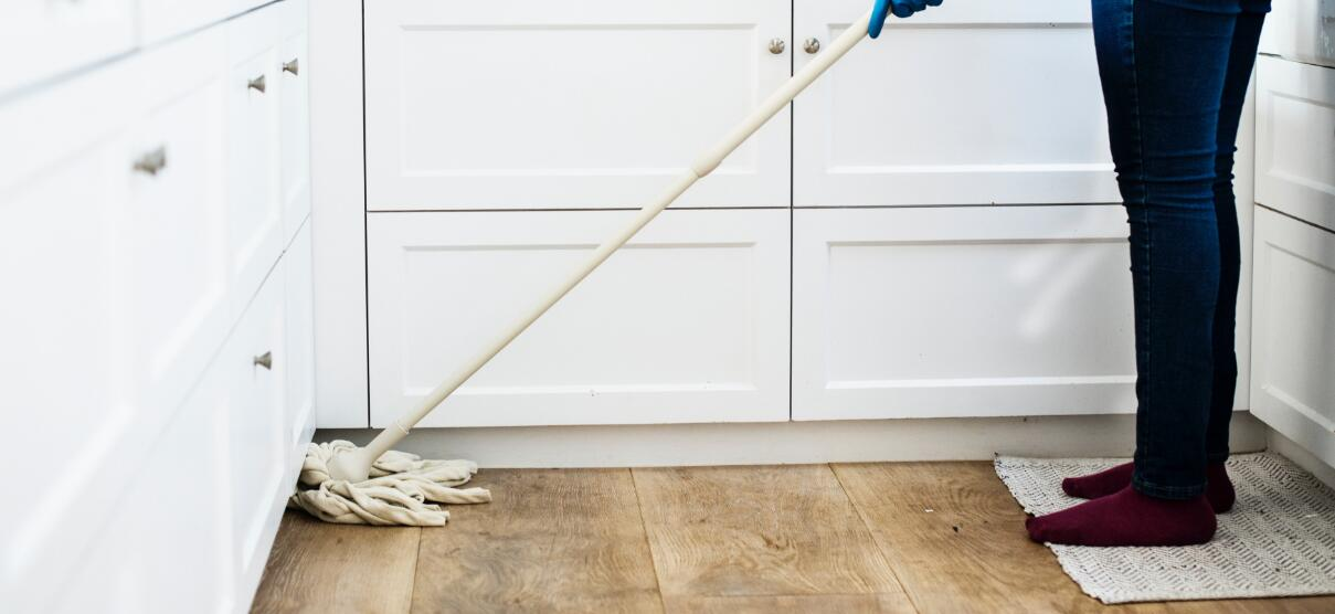 cleaning Home with a string mop
