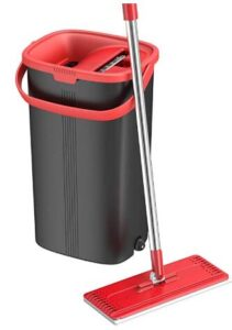 Tethys slim flat mop and bucket kit