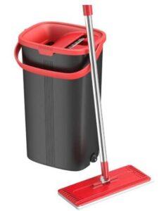 tethys flat floor mop and bucket set with microfiber mop head