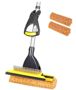 Yocada sponge mop with long handle and squeegee and brush