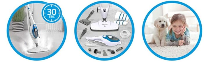 Steam Mop comes with many different accessories